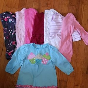 12 mo Bundle of 7 long sleeve onsies and a shirt